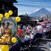 Philippines, St. Valentines Day Parade near Mayon Volcano in Legazpi on Luzon Island.