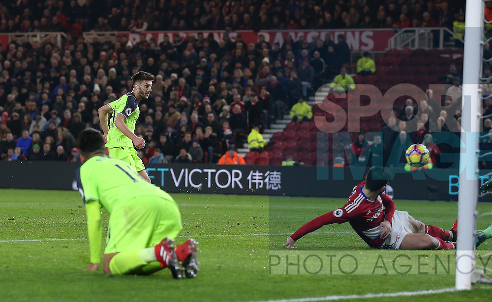 Adam Lallana of Liverpool scores the third goal during the English Premier League match at the Riverside Stadium, Middlesbrough. Picture date: December 14th, 2016. Pic Simon Bellis/Sportimage