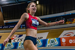 Kika van Bergen en Henegouwen in action on long jump during limit matches to be held simultaneously with the Dutch Athletics Championships on 13 February 2021 in Apeldoorn