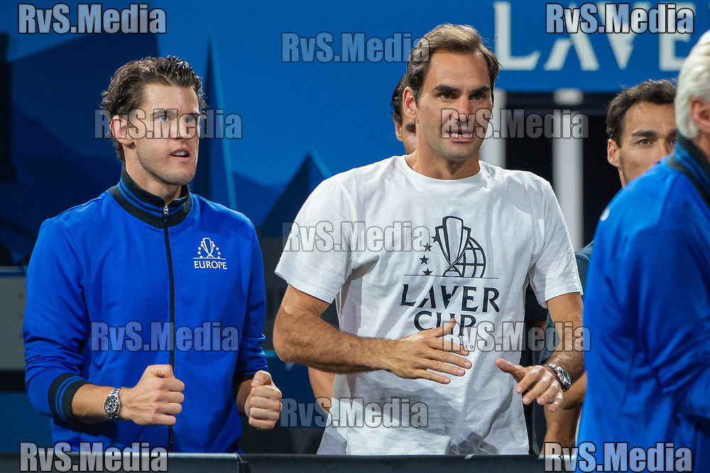GENEVA, SWITZERLAND - SEPTEMBER 22: Roger Federer of Team Europe reacts during Day 3 of the Laver Cup 2019 at Palexpo on September 20, 2019 in Geneva, Switzerland. The Laver Cup will see six players from the rest of the World competing against their counterparts from Europe. Team World is captained by John McEnroe and Team Europe is captained by Bjorn Borg. The tournament runs from September 20-22. (Photo by Robert Hradil/RvS.Media)