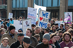 © Licensed to London News Pictures.05/03/2016. Bristol, UK.  March/Day of Action organised in Bristol city centre to support the Junior Doctors, the Nurses and the NHS and against privatisation of the health service.<br /> The event was organised by Bristol PA, Protect CCHP, Protect our NHS, Severn Region Junior Doctors Pressure Group, Bristol Bursary or Bust. Photo credit : Simon Chapman/LNP