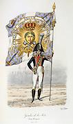 Standard Bearer, 1814-1815.   'Histoire de la maison militaire du Roi de 1814 a 1830' by Eugene Titeux, Paris, 1890.