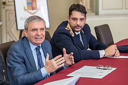 DA SX CESARE CAPOCASA E DARIO VIRGILI<br /> CONFERENZA OPERAZIONE POLIZIA DI STATO GAD GRATTACIELO QUESTURA FERRARA