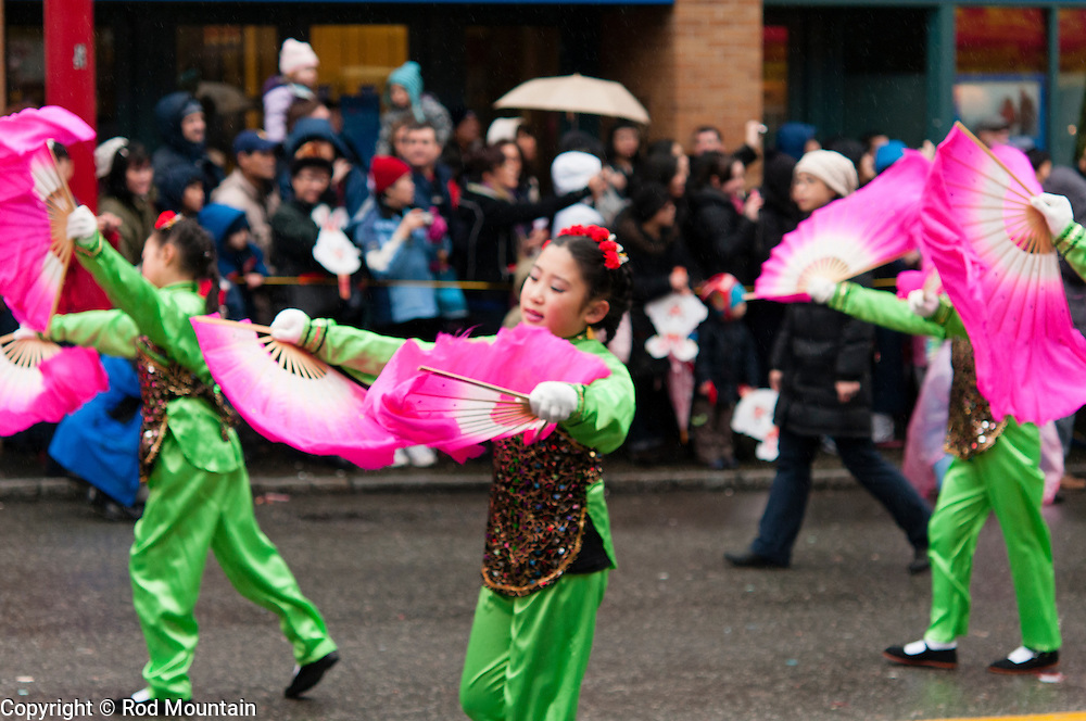 Young girls performing during the annual Chinese New Year Parade in Vancouver, B.C.