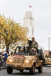 Barnsley turned out in force to welcome from home Operation Herrick 16 The Light Dragoons Englands Northern Cavalry  today (13th November 2012). Led by the Band of Heavy Cavalry and Cambrai around 250 troops supported by military vehicles made their around Barnsley Town centre to the town hall for an official reception, a presentation and inspection....13 November 2012.Image © Paul David Drabble