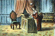 Elias Howe (1819-1867), American inventor, patented the first lock-stitch sewing machine in 1846. Woman using a Howe machine. From 'Adam's Illustrated Panorama of History', c1878. Chromolithograph.