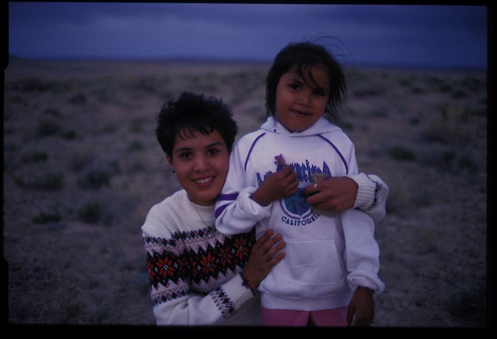 Desiree Taliman (6) and a friend.  Greasewood, Arizona.