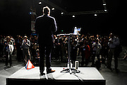 A motivational guru gives pep-talk at a corporate rally day, held for 3,000 UK accountancy staff at Excel, Docklands.