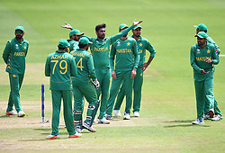 Pakistan's Mohammad Amir (centre) appeals for a wicket