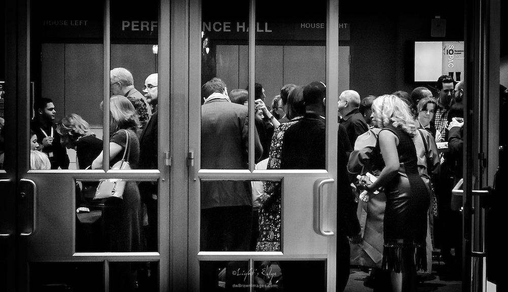 Looking through the front doors as patrons enter the SOPAC 2016 Gala event.