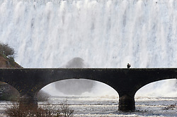 © Licensed to London News Pictures. 11/02/2019. Elan Valley, Powys, Wales, UK. A man takes a 'selfie' as water cascades over the Caban-coch dam, at Elan Valley village near Rhayader in Powys, Wales, UK after recent torrential rain in Powys has filled the complex of Elan valley dams and taken river levels to the tops of river banks in Powys, Wales, UK. Elan Valley dams supply Birmingham in the West Midlands UK with water via a gravity feed. credit: Graham M. Lawrence/LNP