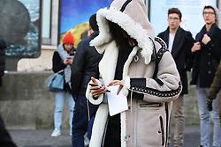Fashionista arriving at the Lanvin Autumn / Winter 2017 Paris Men Fashion Week  show at Palais de Tokyo, Paris on Sunday January 22, 2017.