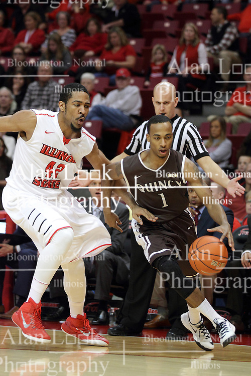 29 December 2014:  Ja'mil Jones, Will Ransom during an NCAA non-conference interdivisional exhibition game between the Quincy University Hawks and the Illinois State University Redbirds at Redbird Arena in Normal Illinois.