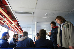 Rok Pajic, Andrej Hebar, Jurij Golicic (his back), Gregor Poloncic, David Rodman, Boris Pretnar and Robert Kristan at whale watching boat when some guys  were celebrating an anniversary of playing for Slovenian National Team for 100 (120) times, during IIHF WC 2008 in Halifax,  on May 07, 2008, sea at Halifax, Nova Scotia,Canada.(Photo by Vid Ponikvar / Sportal Images)