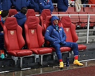 Arsenal's Theo Walcott looks on from the bench<br /> <br /> - Champions League Group D - Arsenal vs Anderlecht- Emirates Stadium - London - England - 4th November 2014  - Picture David Klein/Sportimage