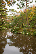 Tall wooden poles supporting pines trees around a stream in the Kenrokuen Garden, Kanazawa, Japan