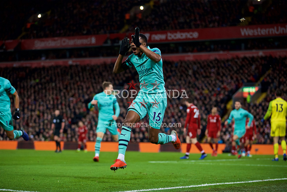 LIVERPOOL, ENGLAND - Saturday, December 29, 2018: Arsenal's Ainsley Maitland-Niles celebrates scoring the first goal during the FA Premier League match between Liverpool FC and Arsenal FC at Anfield. (Pic by David Rawcliffe/Propaganda)