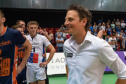 12-05-2019 NED: Abiant Lycurgus - Achterhoek Orion, Groningen<br /> Final Round 5 of 5 Eredivisie volleyball, Orion wins Dutch title after thriller against Lycurgus 3-2 / Coach Martijn van Goeverden of Orion
