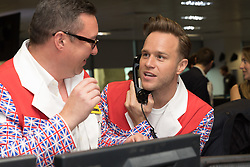 © Licensed to London News Pictures. 11/09/2018. London, UK.  Olly Murs at the 14th Annual BGC Charity Day held on the trading floor of BGC Partners in Canary Wharf, to raise money for charitable causes in commemoration of BGC's 658 colleagues and the 61 Eurobrokers employees lost on 9/11.  Photo credit: Vickie Flores/LNP