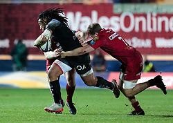Toulon's Ma'a Nonu is tackled by Scarlets' James Davies<br /> <br /> Photographer Simon King/Replay Images<br /> <br /> European Rugby Champions Cup Round 6 - Scarlets v Toulon - Saturday 20th January 2018 - Parc Y Scarlets - Llanelli<br /> <br /> World Copyright © Replay Images . All rights reserved. info@replayimages.co.uk - http://replayimages.co.uk