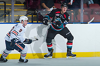KELOWNA, CANADA - SEPTEMBER 5: Nolan Foote #29 of the Kelowna Rockets passes the puck away from Jackson Shepard #9 of the Kamloops Blazers on September 5, 2017 at Prospera Place in Kelowna, British Columbia, Canada.  (Photo by Marissa Baecker/Shoot the Breeze)  *** Local Caption ***