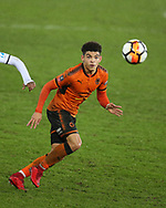 Morgan Gibbs-White of Wolverhampton Wanderers in action.  the Emirates FA Cup, 3rd round replay match, Swansea city v Wolverhampton Wanderers at the Liberty Stadium in Swansea, South Wales on Wednesday 17th January 2018.<br /> pic by  Andrew Orchard, Andrew Orchard sports photography.