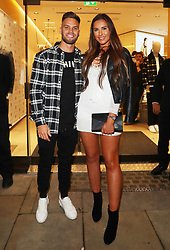 Jessica Shears and Dom Lever arriving for the opening of a French Connection shop in The Royal Exchange Shopping Arcade, Manchester on Wednesday evening