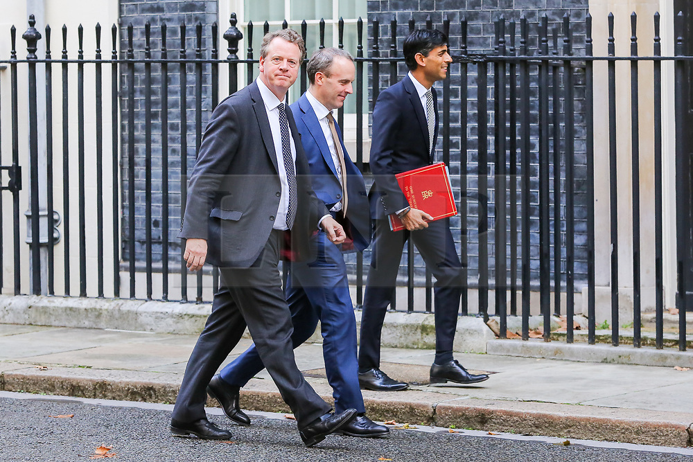 © Licensed to London News Pictures. 16/10/2019. London, UK. Secretary of State for Scotland ALISTER JACK (L),  Foreign SecretaryDOMINIC RAAB (C) and Chief Secretary to The Treasury RISHI SUNAK  (R)  arrives in Downing Street to attend the weekly cabinet meeting. This week's cabinet meeting was postponed by one day on Tuesday 15 October amid a final push for a Brexit agreement that can be sealed in time for the European Council summit in Brussels on Thursday and Friday. Photo credit: Dinendra Haria/LNP