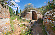 Etruscan circular Tumulus Tomb, Necropoli della Banditaccia, Cerveteri, Italy. A UNESCO World Heritage Site .<br /> <br /> Visit our ETRUSCAN PHOTO COLLECTIONS for more photos to buy as buy as wall art prints https://funkystock.photoshelter.com/gallery-collection/Pictures-Images-of-Etruscan-Historic-Sites-Art-Artefacts-Antiquities/C0000GgxRXWVMLyc