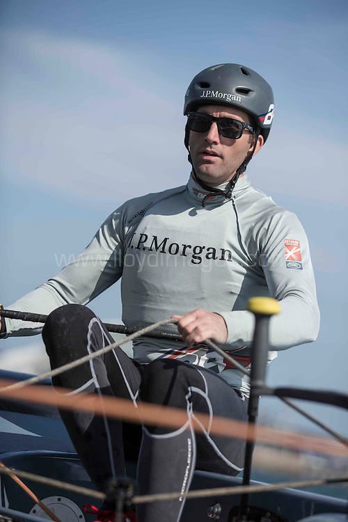 The Land Rover Extreme Sailing Series 2014.  <br /> Act 3. Qingdao. China<br /> BAR - JP Morgan.  Skippered by Sir  Ben Ainslie (GBR) with Tactician Nick Hutton (GBR), Mainsail Trimmer Paul Goodison (GBR), Headsail Trimmer Pippa Wilson (GBR) and Bowman Matt Cornwell (GBR)<br /> <br /> Credit - Lloyd Images