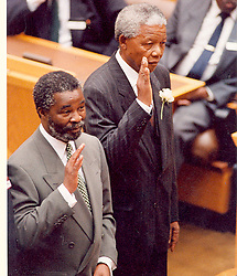 Nelson Mandela at his presidential inauguration with his deputy,Thabo Mbeki