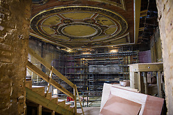 General view of the interior of Alexandra Palace Theatre in north London, as workmen carry out an £18.8 million restoration of the hidden Victorian building. The theatre, built in 1885, has been closed for more than 80 years, and is set to re-open after the summer, with a full programme of events announced for December. Picture date: Friday April 27th, 2018. Photo credit should read: Matt Crossick/ EMPICS Entertainment.