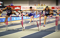 Great Britain's Andy Pozzi (centre), France's Aurel Manga (left) and Pascal Martinot-Lagard during the Men's 60m Hurdles Final during day three of the European Indoor Athletics Championships at the Emirates Arena, Glasgow.