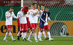 25.10.2011, Red Bull Arena, Meuselwitz, GER, DFB 2. Pokalrunde, ZFC Meuselwitz  vs Hertha BSC Berlin, im Bild.mit gesenktem Haupt gehen die Roten Bullen nach der 0:1 Niederlage vom Plat.// during the Pokal fight first Round from GER, RB Leipzig vs FC Augsburg on 2011/10/25, Red Bull Arena, Leipzig, Germany..EXPA Pictures © 2011, PhotoCredit: EXPA/ nph/  Hessland       ****** out of GER / CRO  / BEL ******