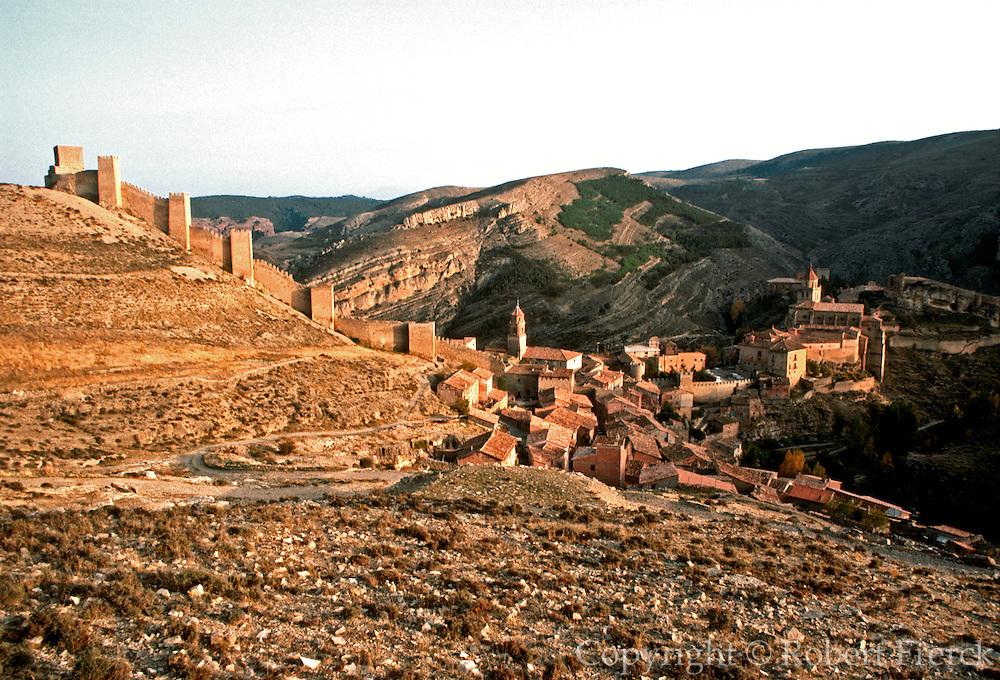 SPAIN, ARAGON Albarracin; walled village on cliffs