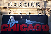 Poster advertising the musical Chicago at the Garrick Theatre using the image of one of it's original stars Ute Lemper. This is one of Theaterland's most enduring stage musicals having run for more than a decade.