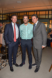 21 November 2019 - Jack Brooksbank, Sam Harrison and Edward Taylor at the launch of Sam's Riverside Restaurant, 1 Crisp Walk, Hammersmith hosted by owner Sam Harrison, Edward Taylor and Jack Brooksbank.<br /> <br /> Photo by Dominic O'Neill/Desmond O'Neill Features Ltd.  +44(0)1306 731608  www.donfeatures.com