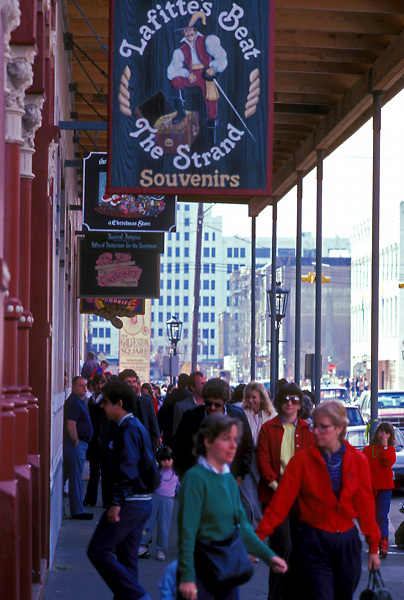 Tourists shopping on The Strand in historic Galveston Texas