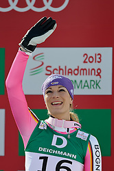10.02.2013, Planai, Schladming, AUT, FIS Weltmeisterschaften Ski Alpin, Abfahrt, Damen, im Bild Maria Hoefl-Riesch (GER, 3. Platz) // 3rd place Maria Hoefl-Riesch of Germany after Ladies Downhill at the FIS Ski World Championships 2013 at the Planai Course, Schladming, Austria on 2013/02/10. EXPA Pictures © 2013, PhotoCredit: EXPA/ Sandro Zangrando