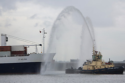 © Licensed to London News Pictures. 14/06/2016. Royal Mail Ship St Helena has been given a special send off as she bid farewell to the Thames. The vessel, a lifeline for 26 years to St Helena, was in London last week and today departed Tilbury. She was given a water salute from tugs as well as cannon fire from Tilbury and a confetti cannon. RMS St Helena is the last working Royal Mail Ship. There was rain and thunder to accompany her farewell. Credit : Rob Powell/LNP