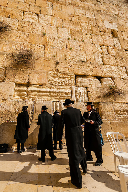 Orthodox Jewish men praying in the  men's section, Western Wall (Wailing Wall), Old City, Jerusalem, Israel.