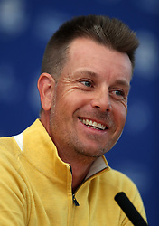 Team Europe's Henrik Stenson during a press conference on preview day four of the Ryder Cup at Le Golf National, Saint-Quentin-en-Yvelines, Paris. PRESS ASSOCIATION Photo. Picture date: Thursday September 27, 2018. See PA story GOLF Ryder. Photo credit should read: David Davies/PA Wire. RESTRICTIONS: Editorial use only. No commercial use.
