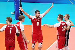 September 30, 2018 - Turin, Piedmont, Italy - Fabian Drzyzga celebrates with teammates during the final match between Brazil and Poland for the FIVB Men's World Championship 2018 at Pala Alpitour in Turin, Italy, on 30 September 2018. Poland won 3: 0 and it is confirmed world champion. (Credit Image: © Massimiliano Ferraro/NurPhoto/ZUMA Press)