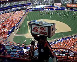 Hot dog seller at Mets Shea stadium on the opening game of the season.
