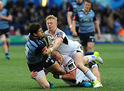Lloyd Williams of Cardiff Blues is tackled by Rob Lyttle of Ulster Rugby - Mandatory by-line: Nizaam Jones/JMP- 24/03/2018 - RUGBY - BT Sport Cardiff Arms Park- Cardiff, Wales - Cardiff Blues v Ulster Rugby - Guinness Pro 14