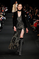 Fei Fei Sun (WOMEN) walks the runway wearing Altuzarra Fall 2015 during Mercedes-Benz Fashion Week in New York on February 14, 2015