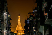 Shwedagon Pagoda, East Gate at night, Rangoon, Yangon, Myanmar