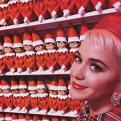 """Katy Perry releases a photo on Instagram with the following caption: """"I smile because on the 25th day of Christmas the Elf on the Shelf will magically move in to storage for a long winters nap \ud83e\udd2b\ud83d\ude34"""". Photo Credit: Instagram *** No USA Distribution *** For Editorial Use Only *** Not to be Published in Books or Photo Books ***  Please note: Fees charged by the agency are for the agency's services only, and do not, nor are they intended to, convey to the user any ownership of Copyright or License in the material. The agency does not claim any ownership including but not limited to Copyright or License in the attached material. By publishing this material you expressly agree to indemnify and to hold the agency and its directors, shareholders and employees harmless from any loss, claims, damages, demands, expenses (including legal fees), or any causes of action or allegation against the agency arising out of or connected in any way with publication of the material."""