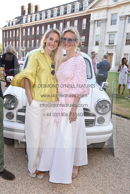 Left to right, sisters Mary Powys and Ruth Ganesh at the Concours d'éléphant in aid of Elephant Family held at the Royal Hospital Chelsea, London, England. 28 June 2018.