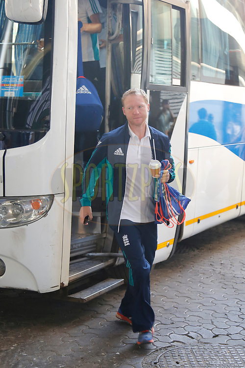 Gareth Batty of England arrives at the stadium during day 4 of the fourth test match between India and England held at the Wankhede Stadium, Mumbai on the 11th December 2016.<br /> <br /> Photo by: Deepak Malik/ BCCI/ SPORTZPICS